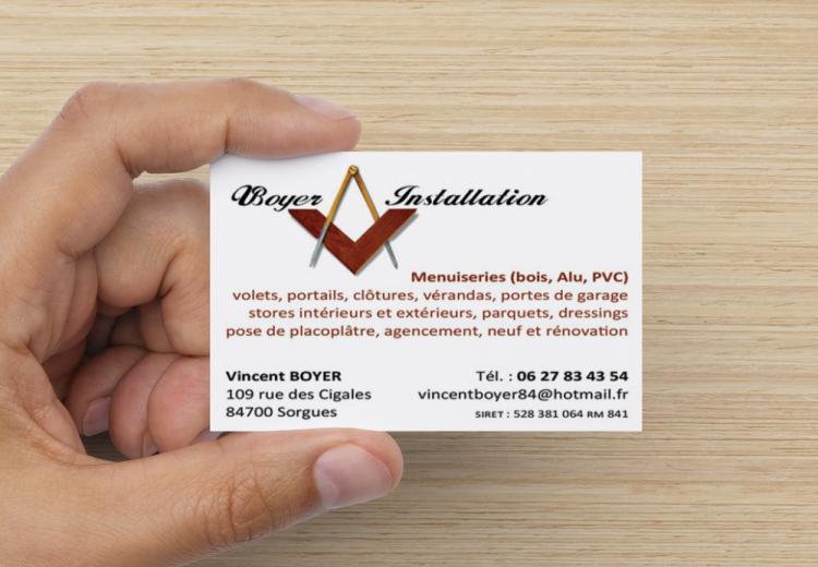 Logotype et carte de visite artisan menuisier