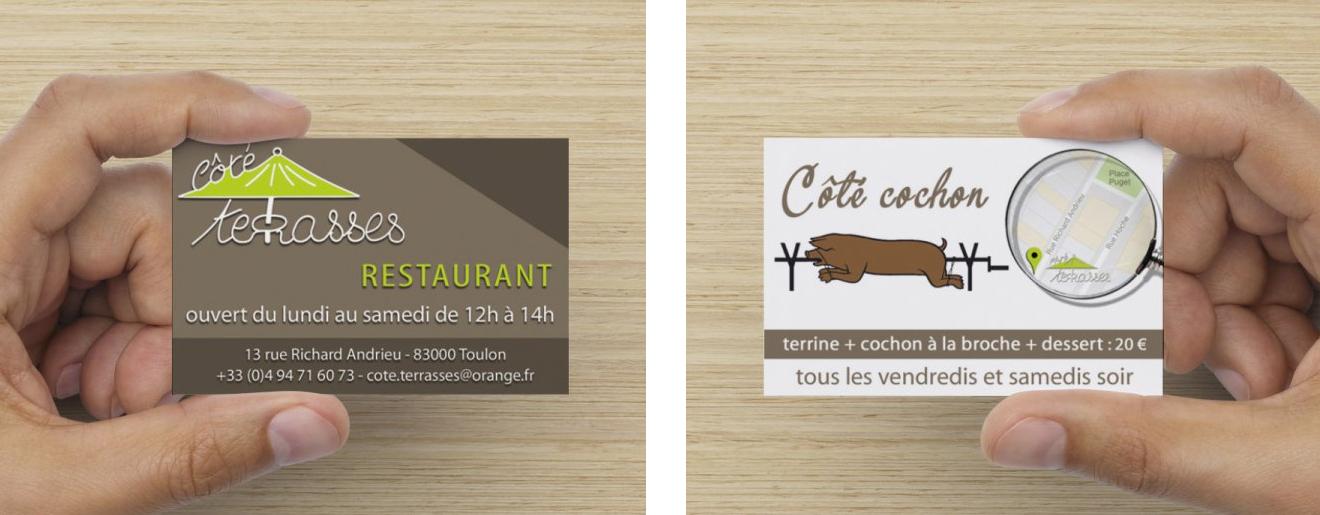 "Carte de visite recto/verso Restaurant ""Côté Terrasses"""