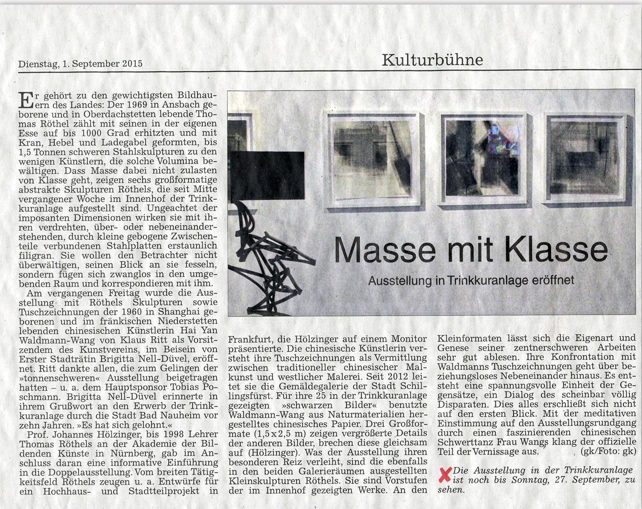 2015 Galerie in der Trinkkuranlage Kunstverein Bad Nauheim
