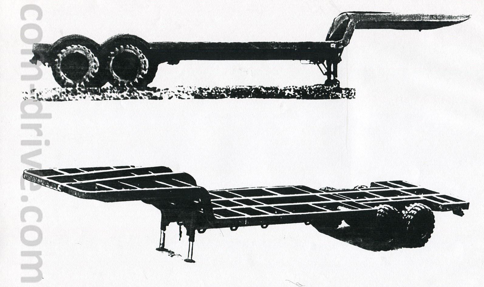 На верхнем фото представлен полуприцеп МАЗ 938, на нижнем - МАЗ 938Б. Характерным внешним отличием является отсутствие у последнего какого-либо настила на раме, а так же не прикрытые колесные арки
