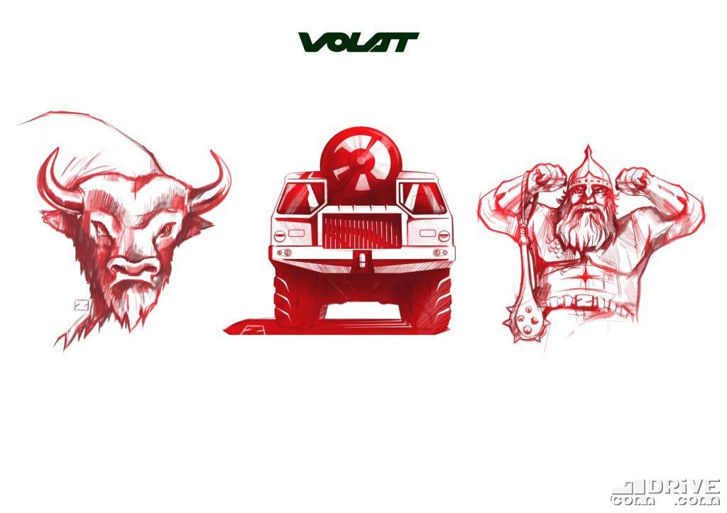 Символ Беларуси - зубр, символ МЗКТ - ракетоносец, и олицетворение бренда  - VOLAT, означает БОГАТЫРЬ