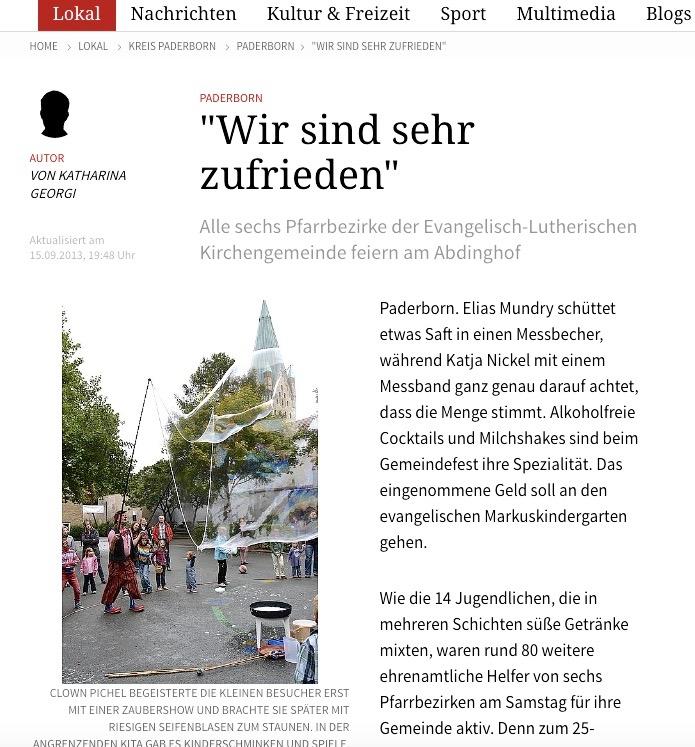 Neue Westfälische 15.09.2013