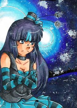 #092 ~ blauer Mond ~ Copic Marker ~ nicht frei