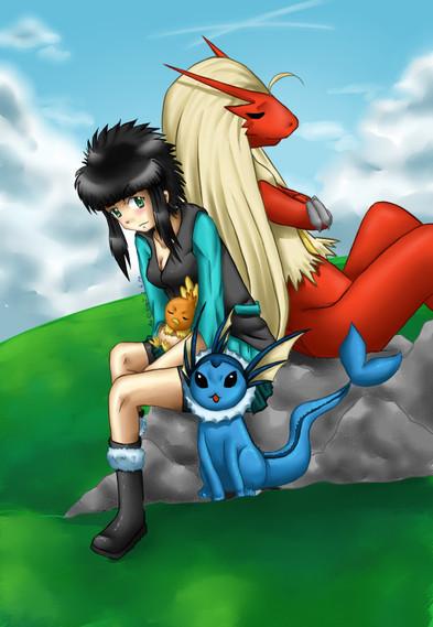 Mein Pokemon Team ~ Kusú (Künstlerin) mit Lohgock, Flemmli und Aquana aus Pokemon ~ Painttool Sai