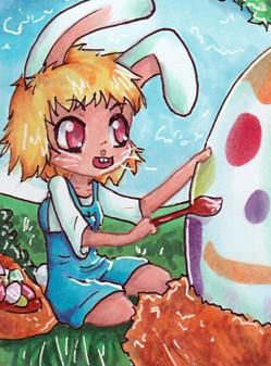 N018 ~ Happy Easter I ~ Verlosungskakao zu Ostern 2015 ~ Copic Marker ~ vergeben