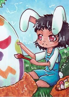 N019 ~ Happy Easter II ~ Verlosungskakao zu Ostern 2015 ~ Copic Marker ~ vergeben