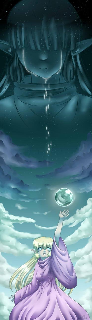 Zu den Sternen greifen ~ Lesezeichenmotiv ~ Painttool Sai