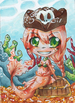 N006 ~ Chibi Pirate Mermaid ~ Copic Marker ~ reserviert