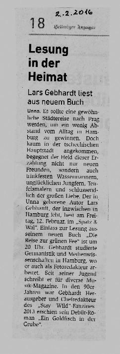 lars Gebhardt - die Reise zur grünen Fee - Hellweger Anzeiger Unna, 02.02.16