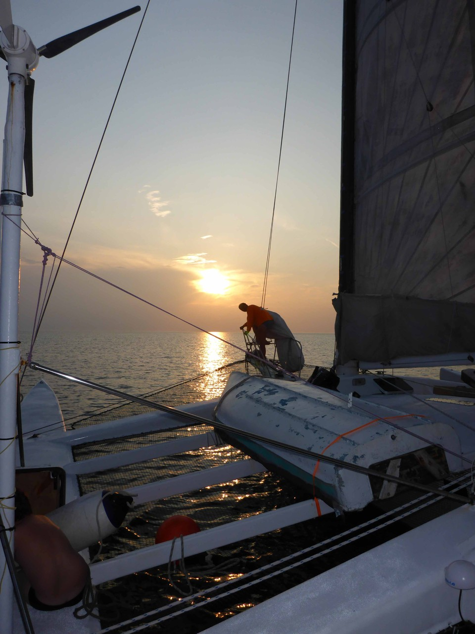 Im Sonnenuntergang Richtung Kiel