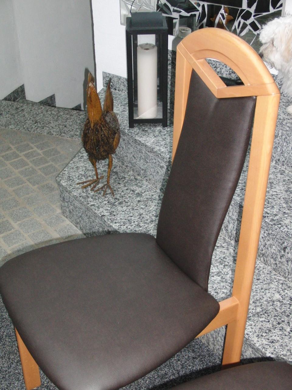 Stühle mit echtem Leder bezogen
