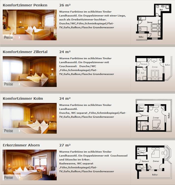 Preise und Zimmer Hotel Blizz - Urlaub mit Frühstück in Finkenberg