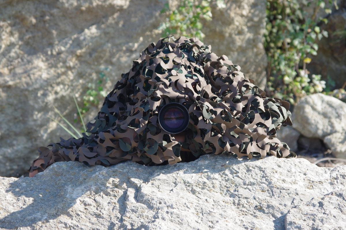 2011 : À l'affut sous un filet de camouflage en bord de Durance