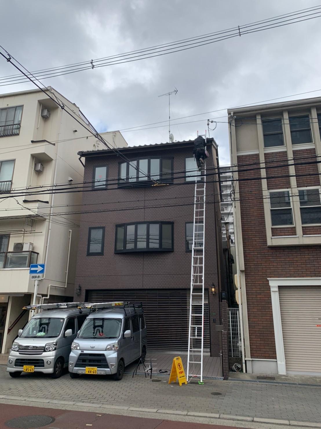 大阪市北区  地デジ八木式アンテナBSCS4k8k取付設置工事 3F建て