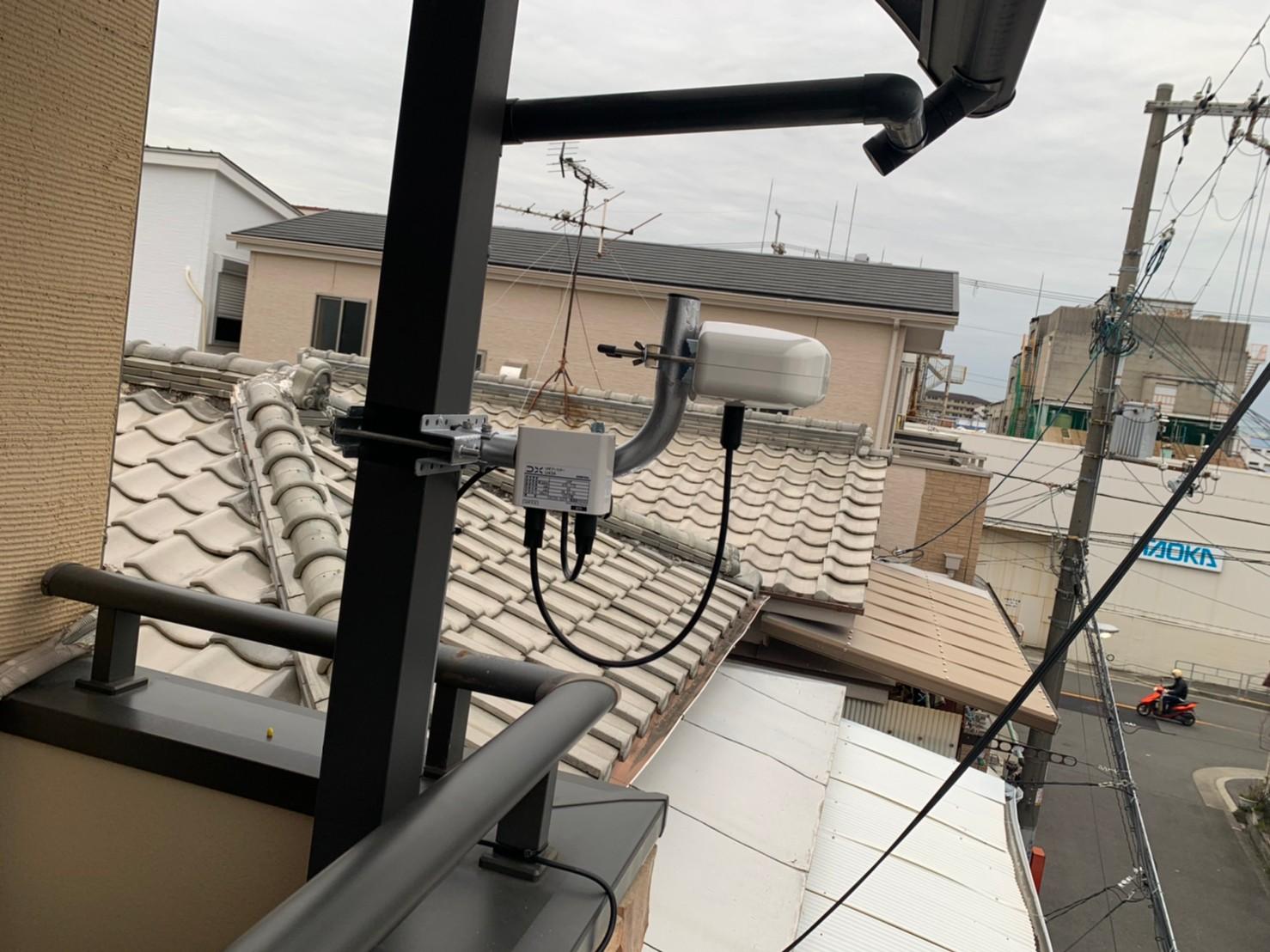 大阪市淀川区 地デジコンパクトアンテナ取付設置工事