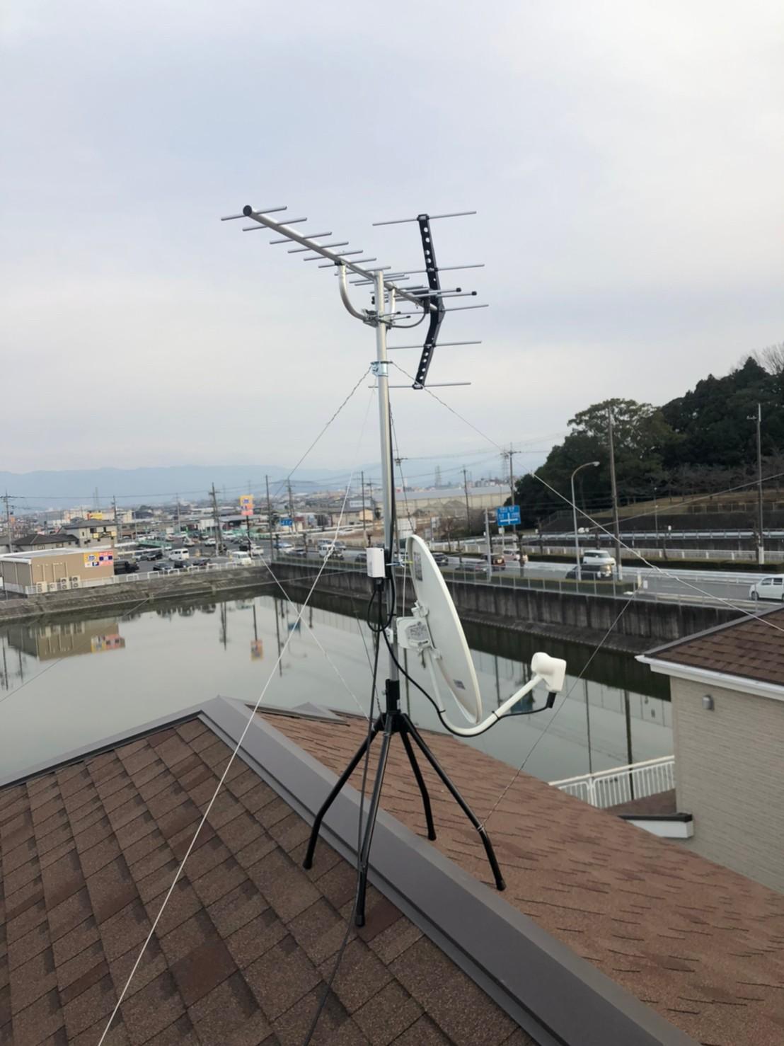 奈良県広陵町 地デジ八木式アンテナBSCS4K8K取付設置工事