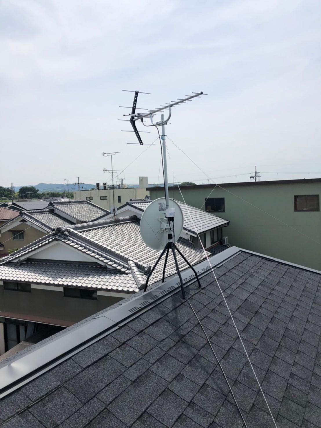 京都府城陽市 地デジヤギ式BSCS4K8Kアンテナ取付設置工事