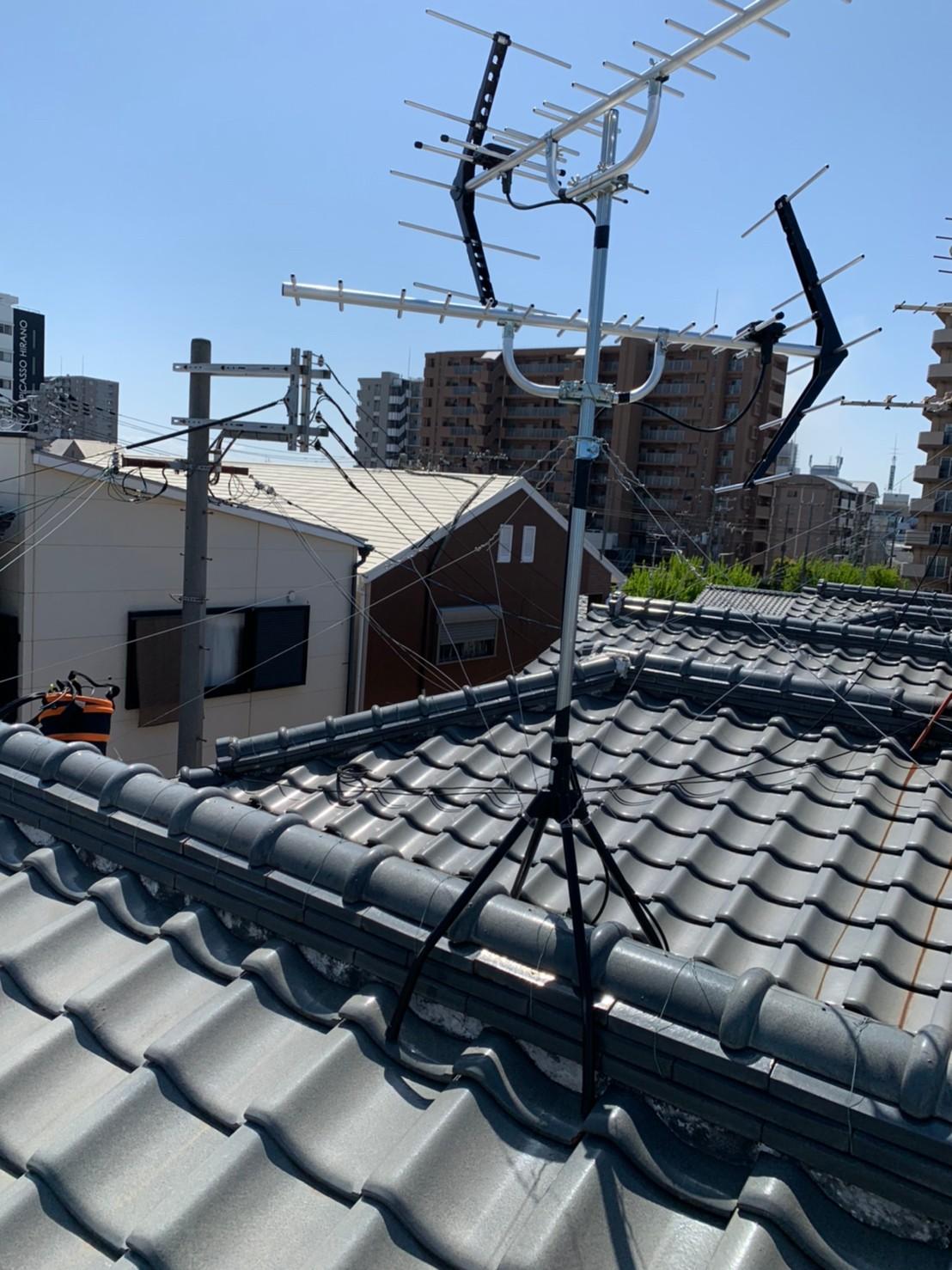 大阪市平野区 地デジヤギ式アンテナ取付設置工事