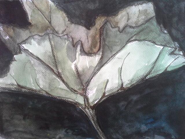 BLAD 2, vetkrijt, aquarelverf en inkt- op papier ca. 20 bij 30 cm.