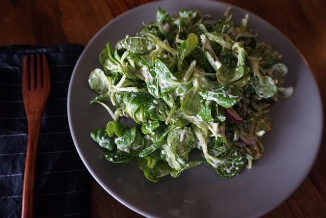 tuerkischer Feldsalat mit Joghurt und Tomatenmark l 300 Kalorien