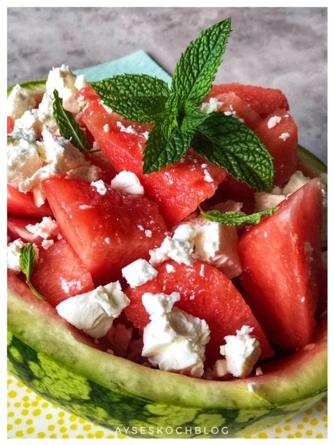 Wassermelonen Salat mit Feta l Karpuz Kan