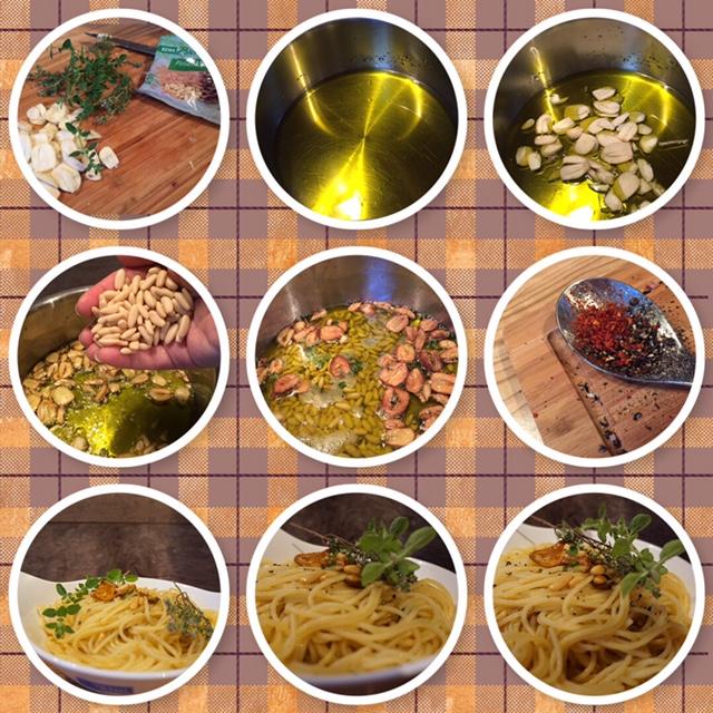 original Rezept Spaghetti Aglio Olio mit Pinienkernen