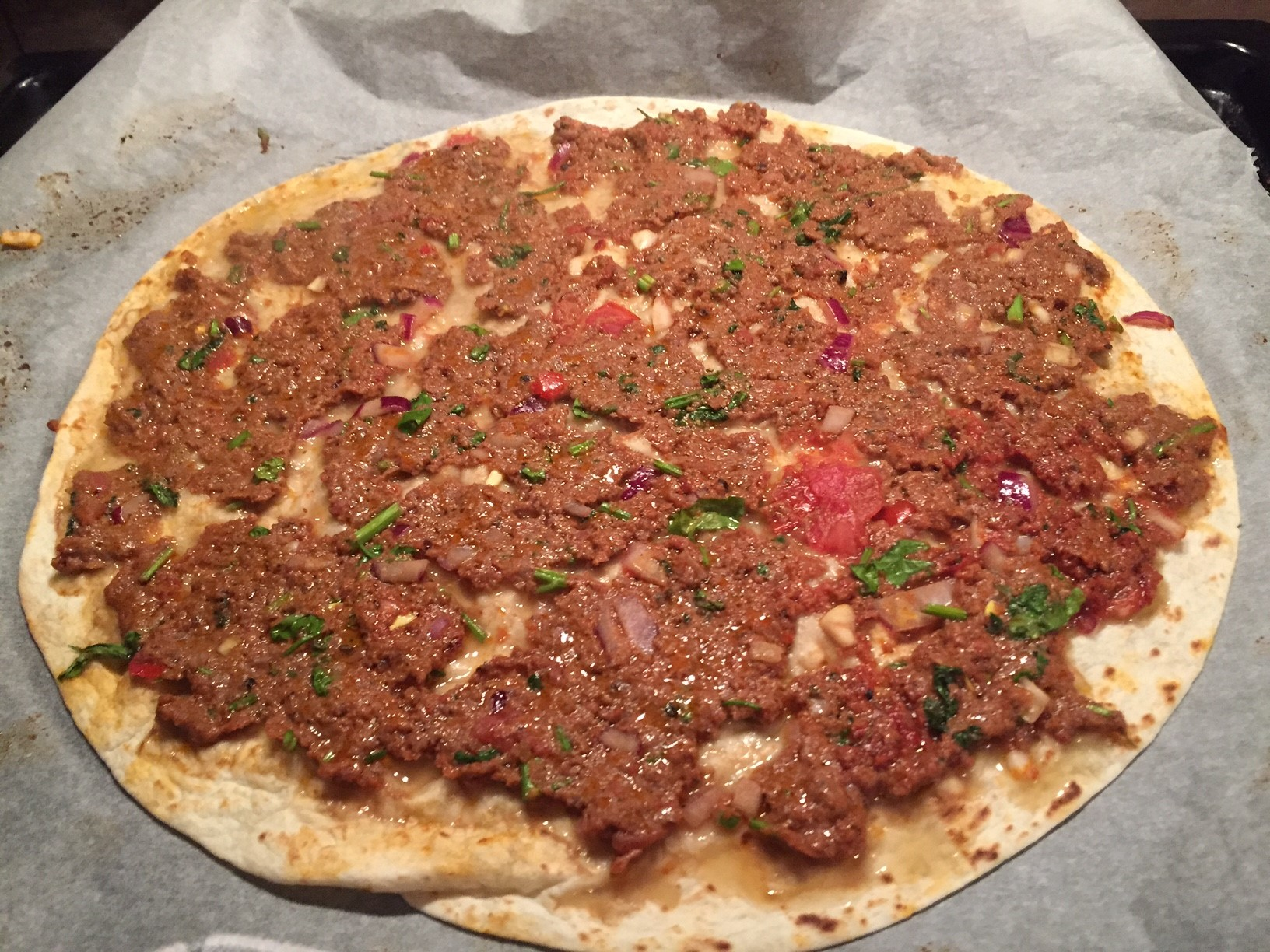 Falsche Tuerkische Pizza in 7 Minuten - Lahmacun low Carb Wrap