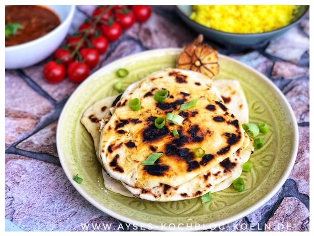 Veganes Naan Brot mit Knoblauch l Naan Brot wie von Jamie Oliver l einfaches indisches Brot