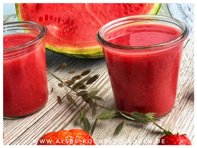 mein Straw-Melone Smoothie l die beste Erfrischung im Sommer l Melonen Erdbeer Smoothie