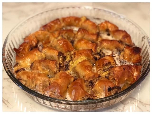 Schnelle Baklava mit Nutella und Nuessen l Baklava Filoteig einfach