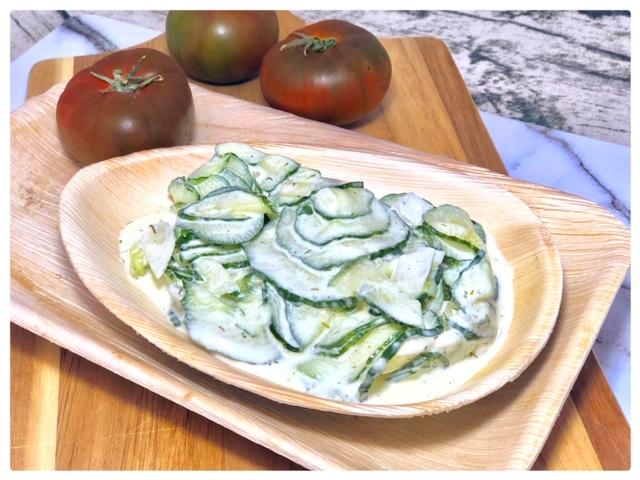 suesslicher Gurkensalat Imbiss l Gurkensalat mit Sahne und Dill l Gurkensalat klassisch