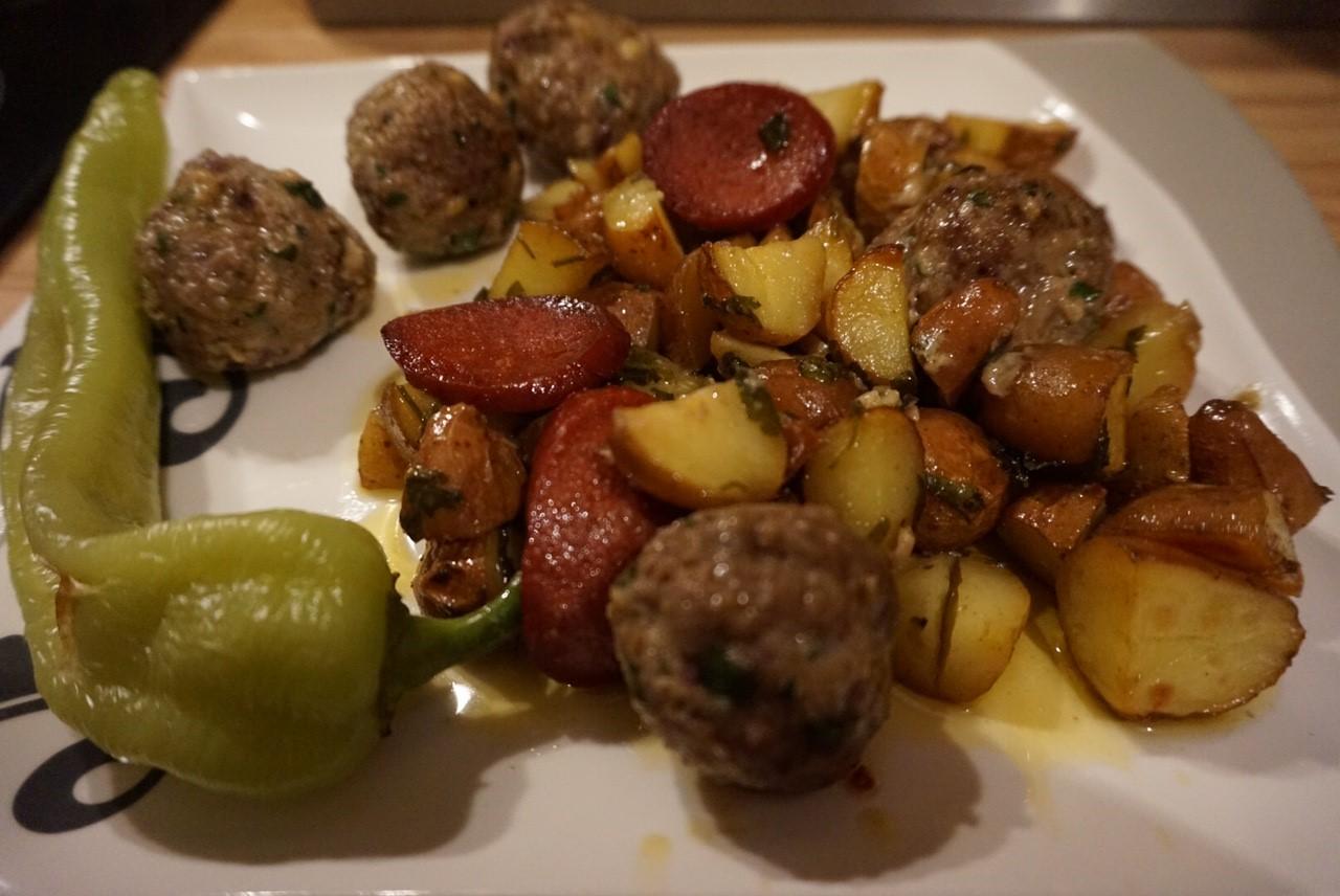 Meal Prep l Zeit sparen und abnehmen l Petersilienkartoffeln aus dem Ofen mit Hackbaellchen