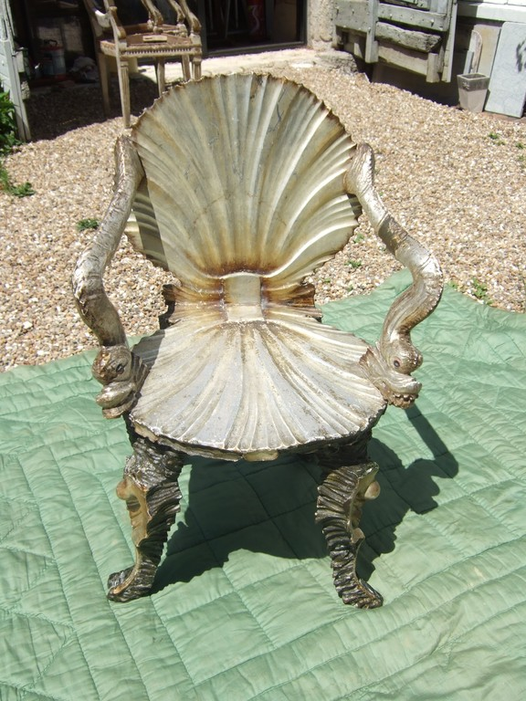 Fauteuil coquillage angleterre 18ème