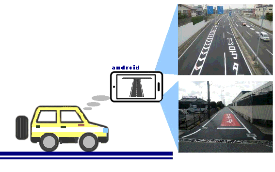 AI道路診断システムサービス紹介|①道路パトロールの実施|スマートフォンをセットしたパトロール車で道路を走行します