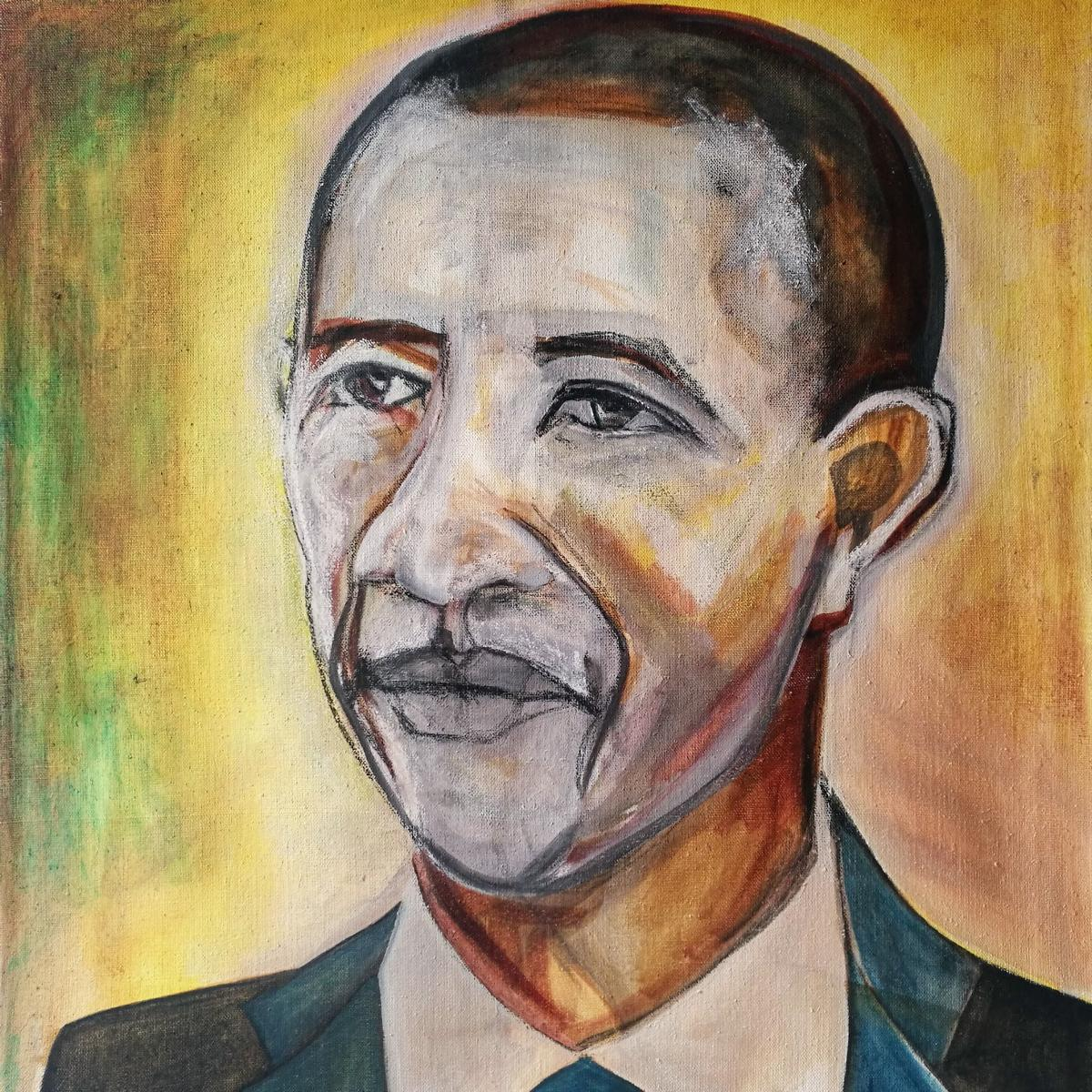 Barack Obama, oil on canvas, 75 x 70 cm, 2013-2015