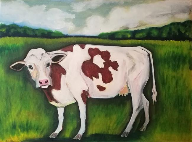 Holstein Fresian, oil on canvs, 55 x 75 cm, 2017