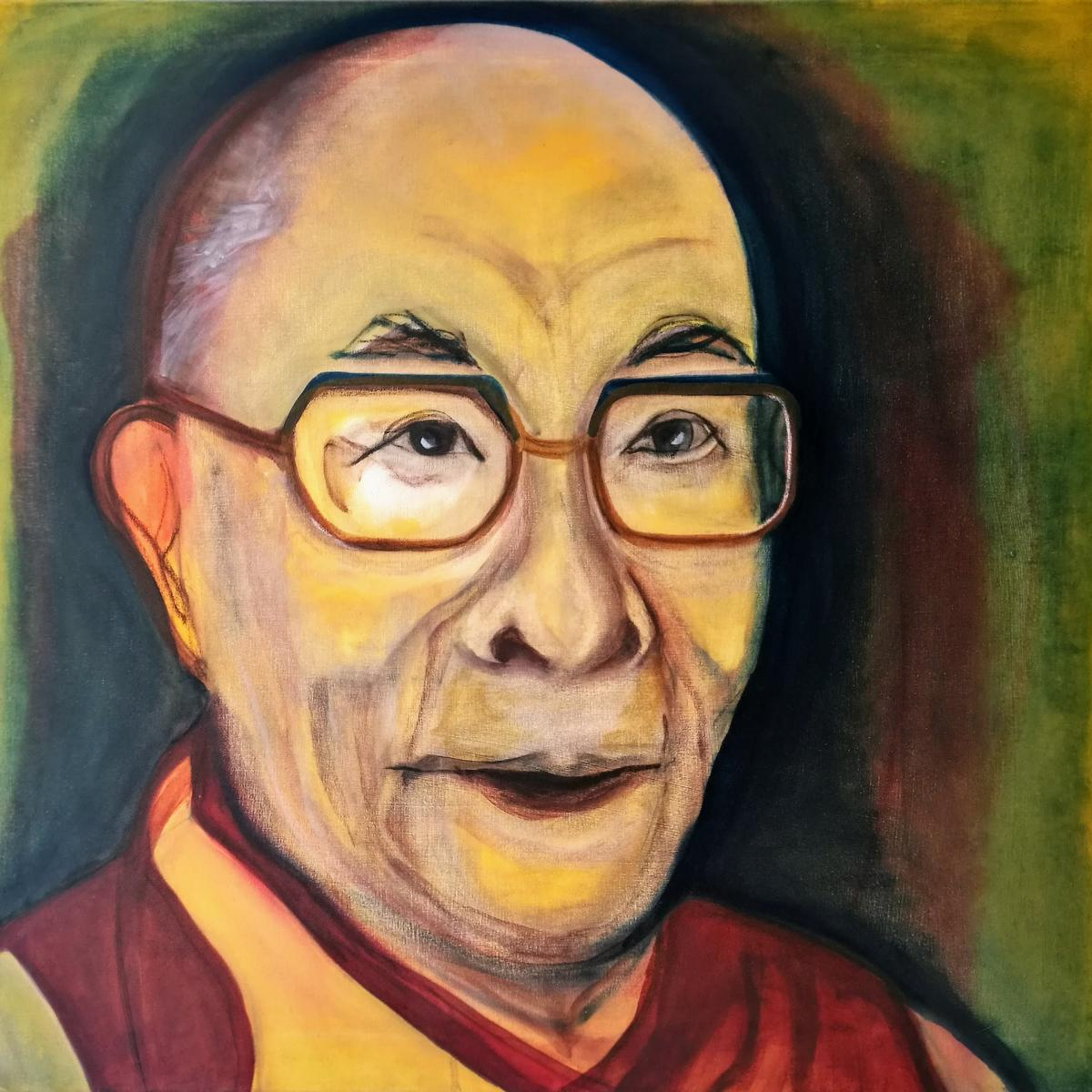 Dalai Lama, oil on canvas, 70 x 75 cm, 2015