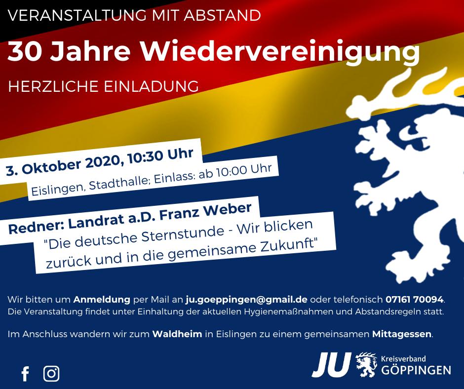 TagderDeutschenEinheit2020 – 30 Jahre Wiedervereinigung!