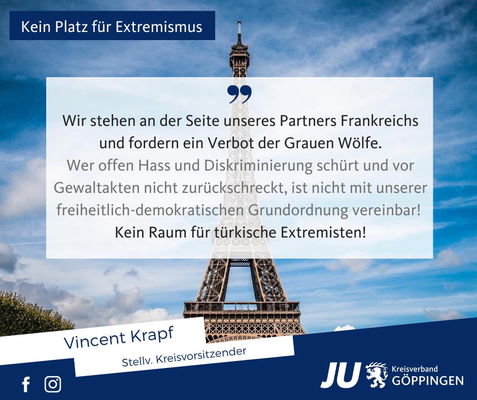 """JU Kreisverband Göppingen fordert, sich beim Verbot der """"Grauen Wölfe"""" an die Seite Frankreichs zu stellen"""