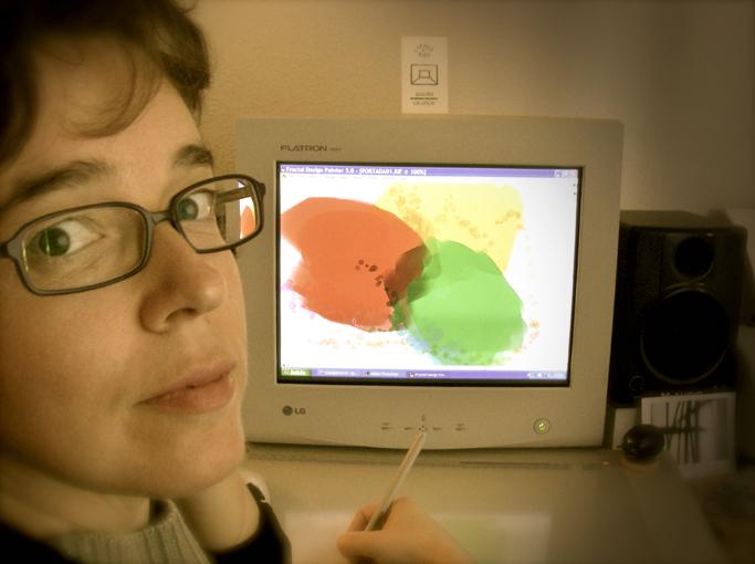 Carmen Ros diseñando la portada de Chegará