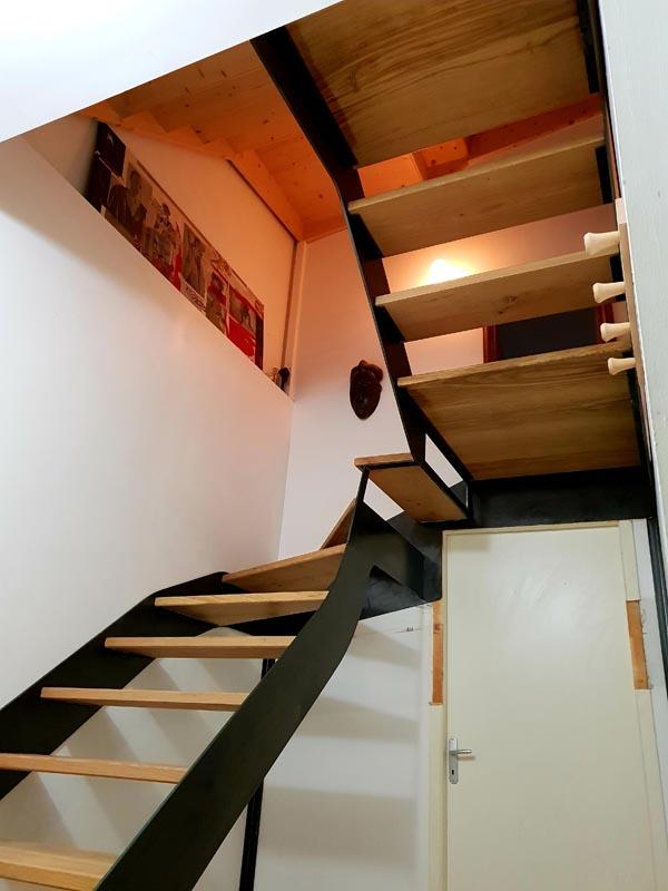 Escalier acier bois cas complexe