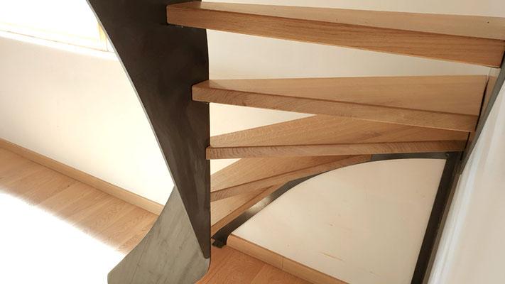 Escalier bois metal 1/4