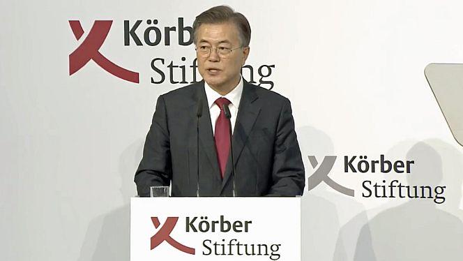Der südkoreanische Präsident Moon stellte in Berlin seine Nordkorea-Politik vor (Foto: Körber-Stiftung)