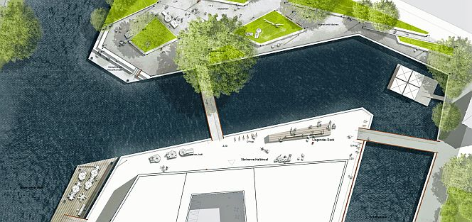Das Körber Haus wird von Wasser und Parkflächen umgeben sein (Foto: claussen-seggelke stadtplaner)