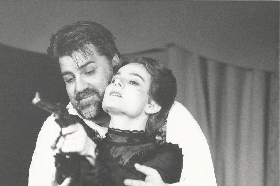 """Hildegard Ritter als Witwe Popowa in """"Der Bär"""" Würzburg 1995"""