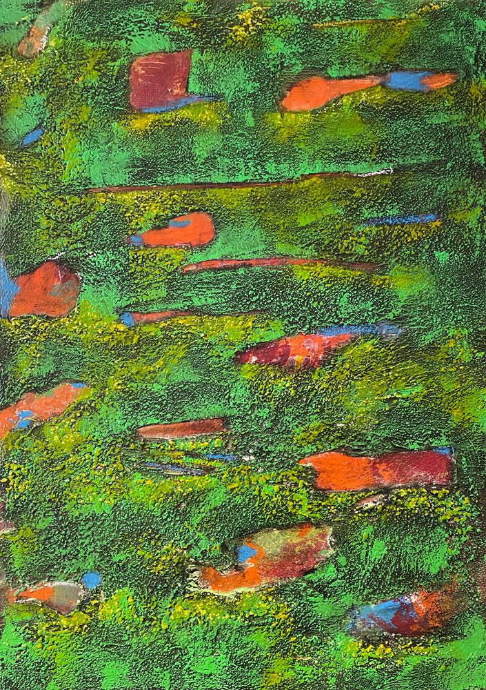 Schicht auf Schicht   ...   Acryl, Steinmehle und Wachs auf Leinwand   ...   50 x 70 cm