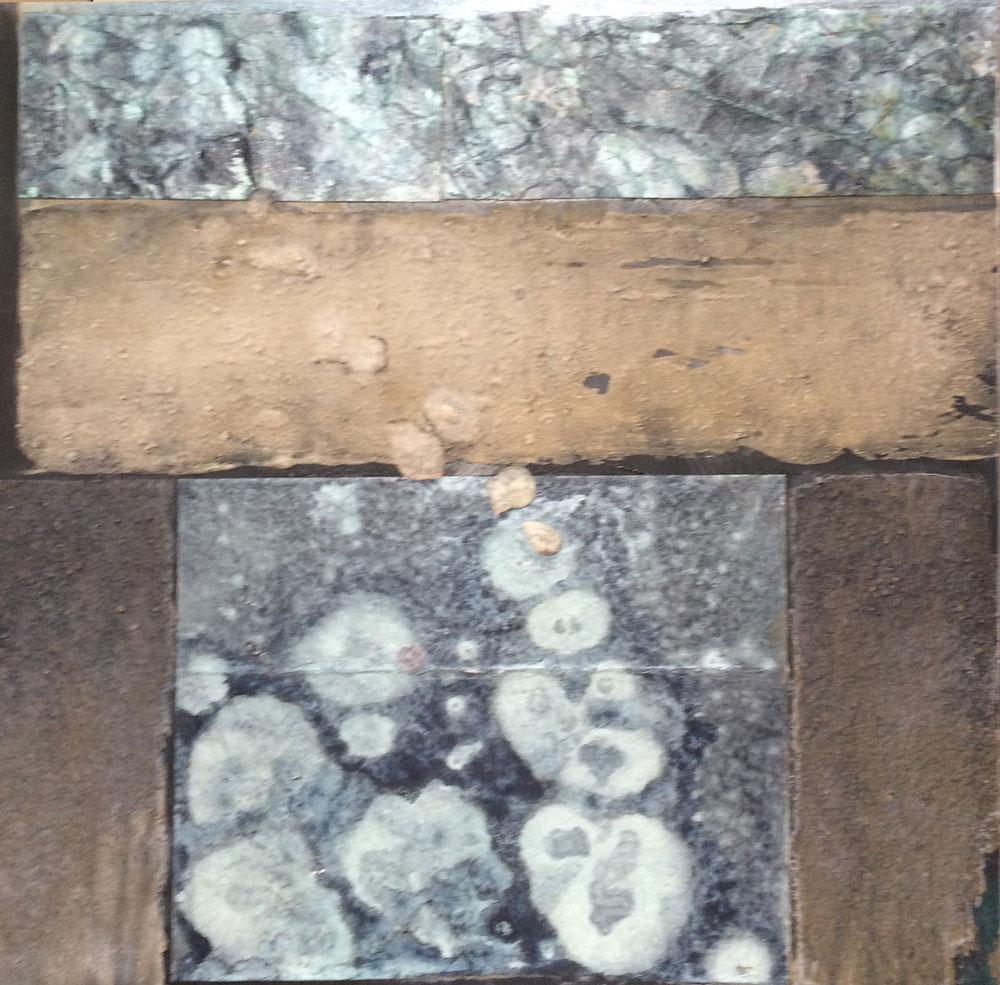 Struktur mit Tropfen   ...   Acryl auf Leinwand   ...   40 x 40 cm