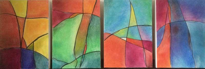 Grafischer Farbenmix   ...   Acryl, Öl und Pastell auf bespannten Holzkästen   ...   4 x 50 x 70 cm