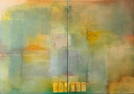 Sandstrukturen - Dyptichon   ...   Acryl auf Leinwand   ...   2 x 50 x 70 cm