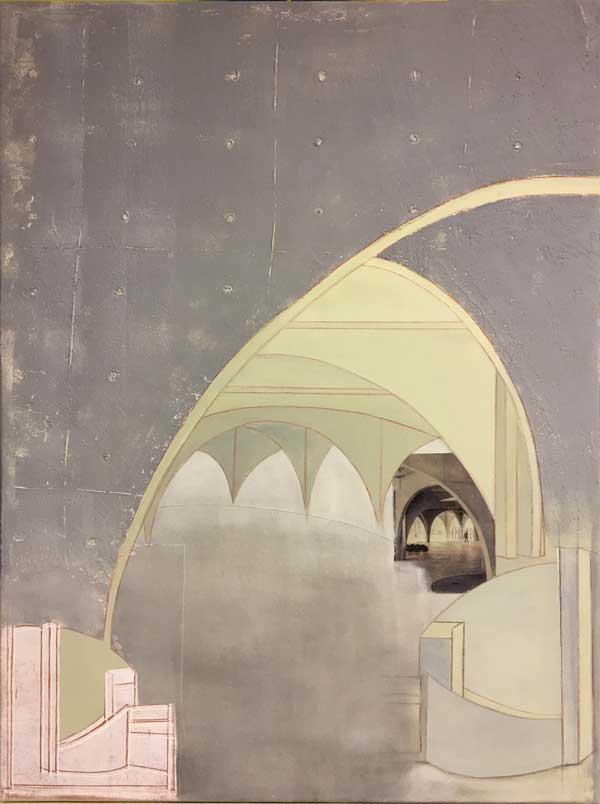 Architektur in Beton   ...   Mixed Media auf Leinwand, Zeichnung, Linoldruck, Collage, Haftputz   ...   60 x 80 cm